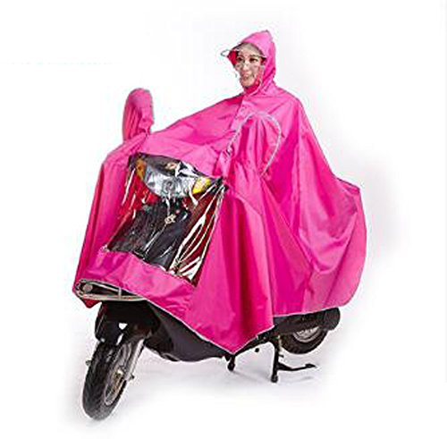 Biscount Bike Waterproof Rain Coat Cycle Windproof Raincoat Bicycle Cape Cycling Poncho Two Face Masks & Reflective Stripe-Pink ()