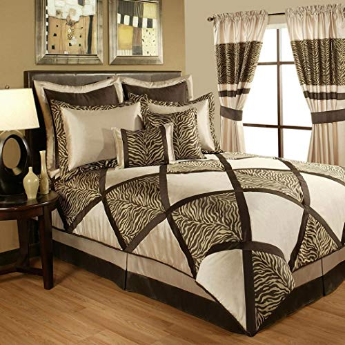 Chocolate Zebra Print - 4 Piece Taupe Golden Brown Safari Comforter King Set, Chocolate Zebra Print Adult Bedding Master Bedroom Stylish Jacquard Animal Pattern Squares Hunting Themed Traditional, Polyester
