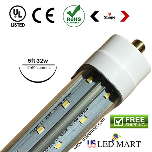 10 Pack of 5ft 32w Display cooler / freezer door LED Tube Light - G13/single Pin Natural White (Day Light) - Clear Cover - V shape Double Row LEDs - 4160 Lumens by USLEDMART