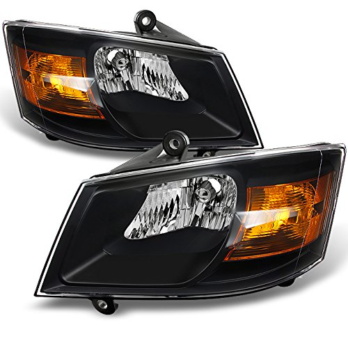 For Dodge Grand Caravan Black Headlights Head Lamps Driver Left + Passenger Right Side Replacement Pair