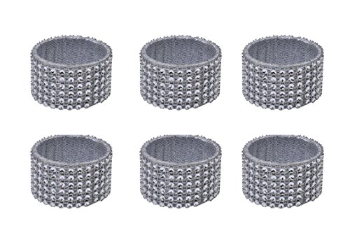 (Yourtablecloth Napkin Rings or Napkin Holders – Enhanced & Appealing Table Décor for Weddings, Parties, Christmas, New Year or Every Day Use – Diamond Napkin Rings – Set of 6)