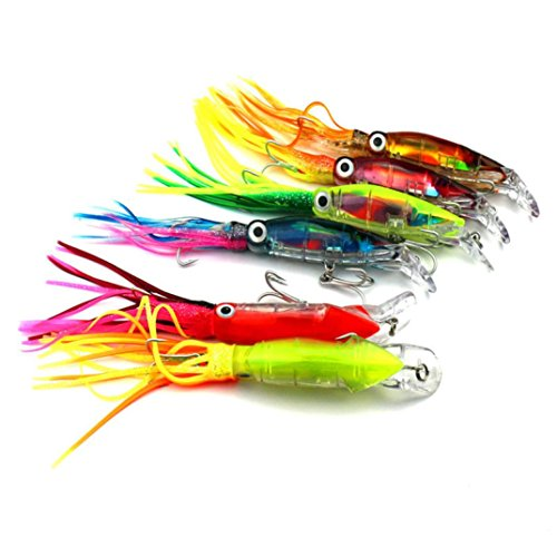 LEERYA 1PCS Octopus Squid Jig Soft Fishing Lure Hook Shrimp Tackle Fish Tool