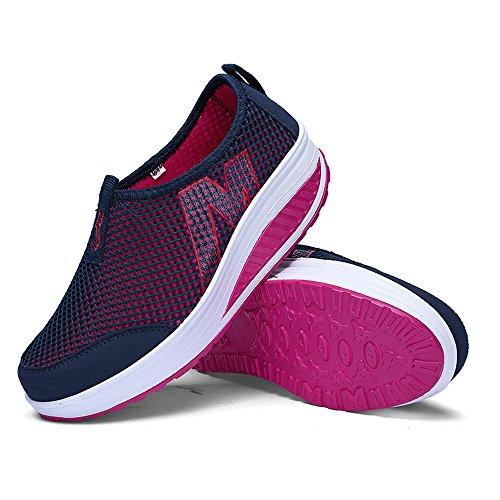 Fitness Up Platform Lightweight Shoes Women Dark Slip Shape 3306 EnllerviiD Sneakers Blue On Walking AqF6B