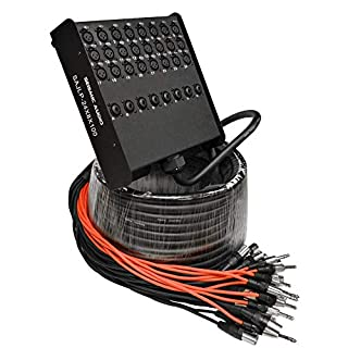 Seismic Audio - SAJLP-24x8x100-24 Channel 100 Foot XLR Low Profile Snake Cable with 8 TRS Returns - Circuit Board Snake for Recording, Stage, Studio PA DJ use