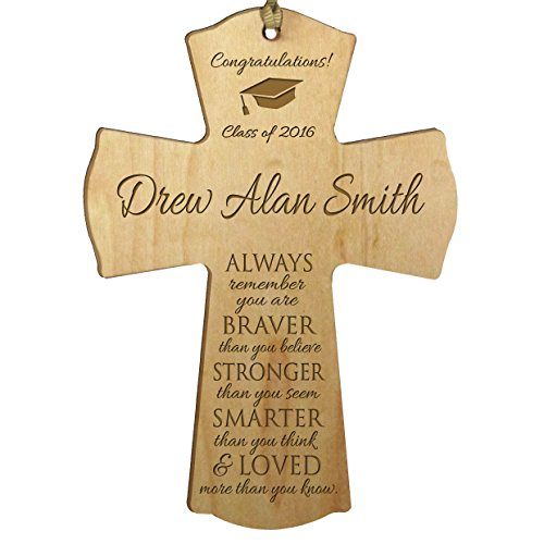 Personalized Graduation gifts for 2016 graduate ideas for men and women custom wall cross Always remember you are braver than you believe (4.5