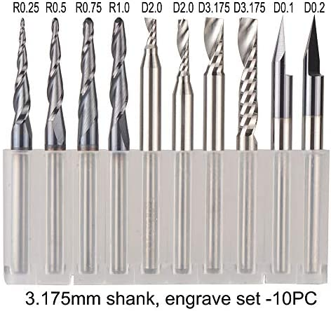 Nologo HUHUI-QIUTOUXIDAO, CNC Solid Carbide engraving bits milling cutter woodwork set 3.175mm 6.35mm 6mm shank router bits for carving wood tools (Size : 3.175mm set 10pcs)