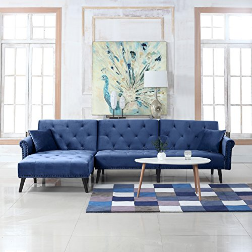 (Divano Roma Furniture Mid Century Modern Style Velvet Sleeper Futon Sofa, Living Room L Shape Sectional Couch with Reclining Backrest and Chaise Lounge (Navy Blue))