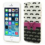 JUJEO Bowknot Mustache Soft IMD TPU Cover for iPhone 5S, Non-Retail Packaging, Multi Color