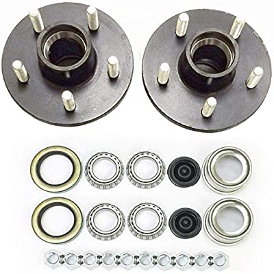 2-Pk Trailer Wheel Hub Complete Kit Steel 5 Lug on 4.75 in. 84 Spindle 3500 Lb.: Automotive