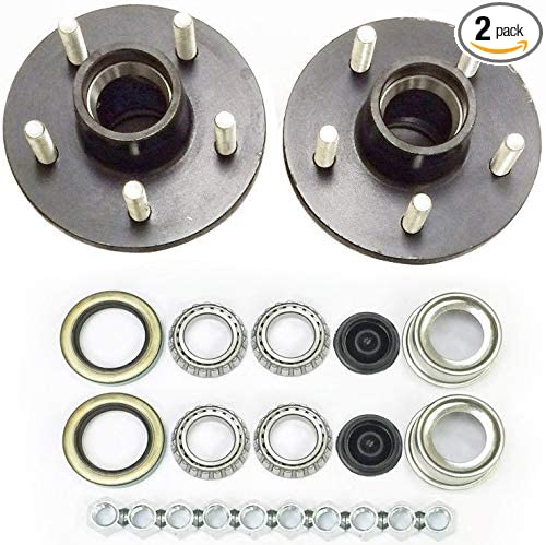 eCustomhitch 2-Pk Trailer Wheel Hub Complete Kit Steel 5 Lug on 4.75 in. 84 Spindle 3500 Lb.