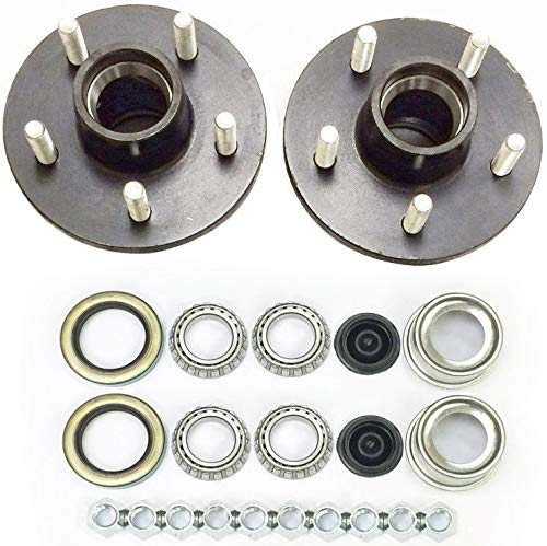 (2-Pk Trailer Wheel Hub Complete Kit Steel 5 Lug on 4.75 in. 84 Spindle 3500 Lb. )