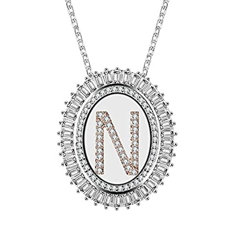 Caperci Cubic Zirconia Alphabet Pendant Necklace Silver-Tone Oval with Initial