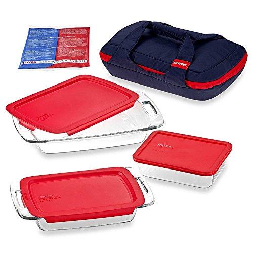 Pyrex Portables 8-Piece Insulated Dish Carrier Bag, 2-Qt, 3-Qt Easy Grab Oblong Baking Dish, 6-Cup Rectangular Dish Set