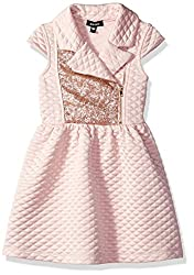 Short Sleeve Quilted Moto Dress with Sequins