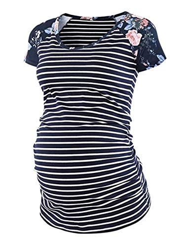 Womens Classic Baseball Crew Neck Raglan Short Sleeve Side Ruched Maternity Tops Tunic T Shirts Pregnancy Clothes ()