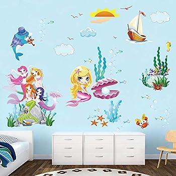 Amazon.com : decalmile Mermaid Princess Wall Decals Underwater World ...