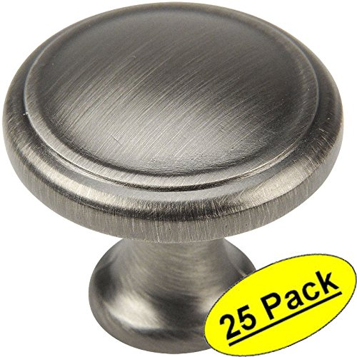 "25 Pack - Cosmas 5982AS Antique Silver Cabinet Hardware Round Knob - 1-1/8"" Diameter"