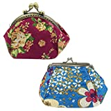 Wrapables Canvas and Embroidered Floral Coin Purse (Set of 2), Red Violet/Blue