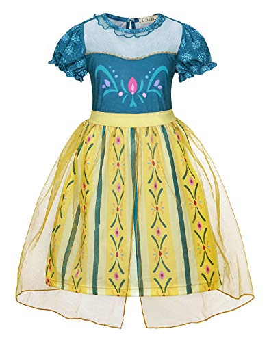 Cotrio Anna Dress Girls Halloween Costumes Outfits Toddler Princess Dresses Kids Nightgowns Nightdress Birthday Party Clothes Size 10 (9-10 Years, 140)