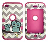 iPod Touch 4th Generation Case,Lantier 3 Layers Verge Hybrid Soft Silicone Hard Plastic TUFF Combo Triple Impact Shockproof Defender Drop Resistance Protective Case Cover Waves Cheveron Owl Hot Pink