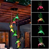 Trubetter LED Solar Wind Chimes, Solar LED Mobile Wind Chime Waterproof Six Hummingbird Wind Chimes For Home/Party/Night/Festival Decor/Garden Gift (Hummingbird)