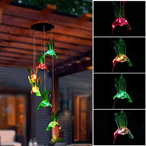 Trubetter LED Solar Wind Chimes, Solar LED Mobile Wind Chime Waterproof Six Hummingbird Wind Chimes For Home/Party/Night/Festival Decor/Garden Gift (Hummingbird) by Trubet