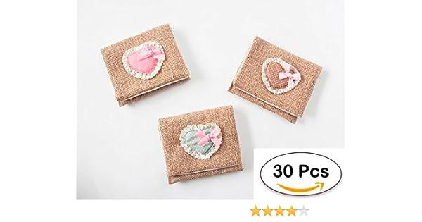 Lote 30 Portatodos Yute Saco Corazón, Detalles Bodas Baratos. Carteras, Porta todos, Monederos Baratos y Originales para Detalles de Bodas