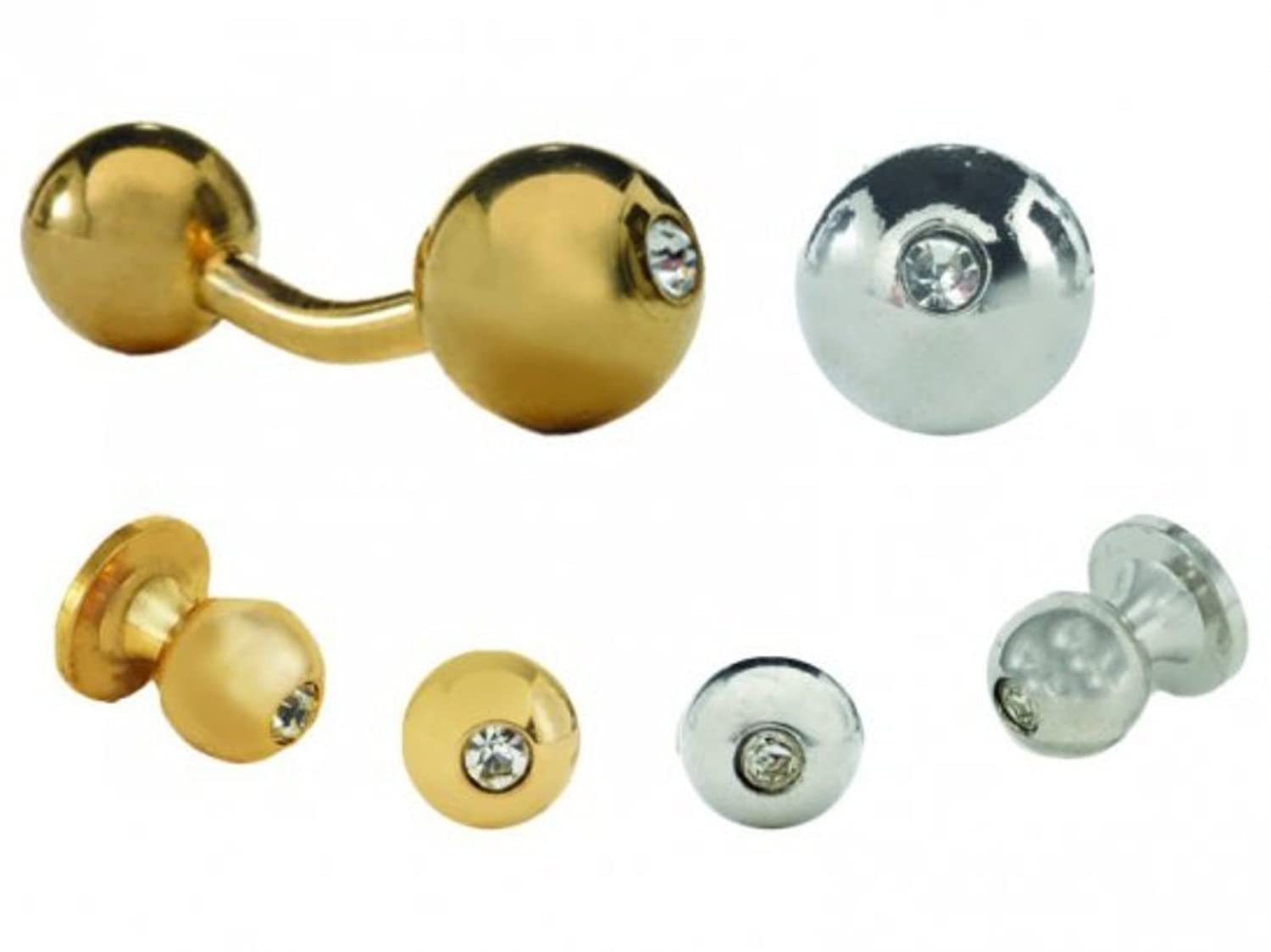 Barbell with a Crystal Tuxedo Studs and Cufflinks Gold Trim