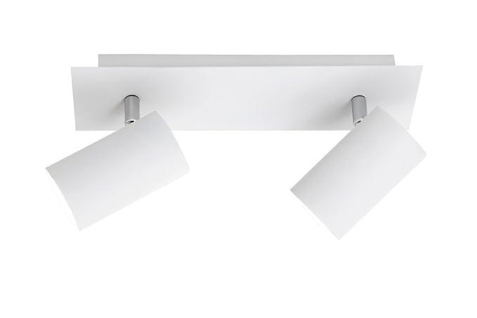 Trio - Focos con 2 luces, bombillas excluidas, GU10, 35 W, 230 V, A++, E, IP20, 15 x 30 x 9 cm, metal, blanco