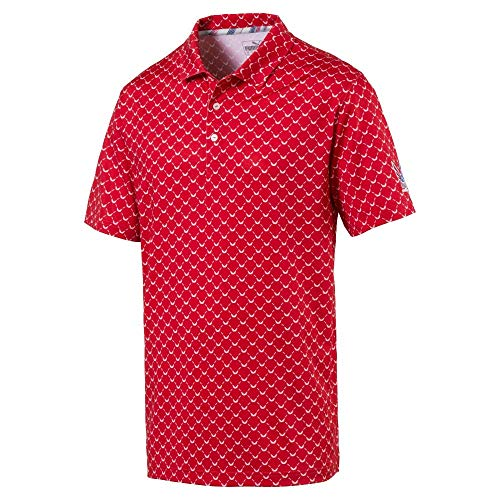 Puma Golf Men's 2019 Voliton Wings Polo, High Risk Red, Double x Large