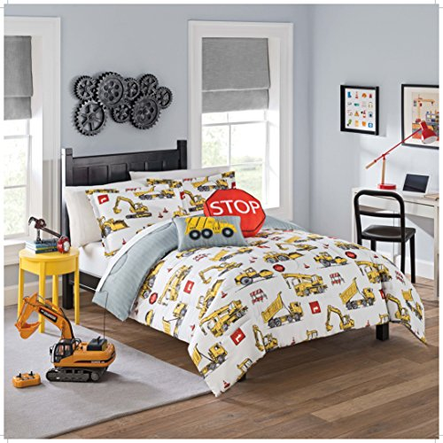 Homestyles Bedroom Bed - WAVERLY Kids Under Under Construction Reversible Bedding Collection, Twin, Multicolor