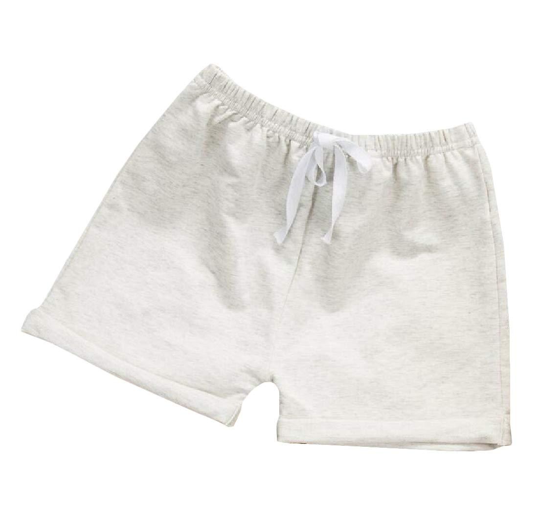 Bigbarry Girl Boys Elastic Waist Sports Cute Cotton Stretch Short Gray 6/7T