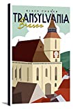 Transylvania Church - Vector Style (16x24 Gallery Wrapped Stretched Canvas)