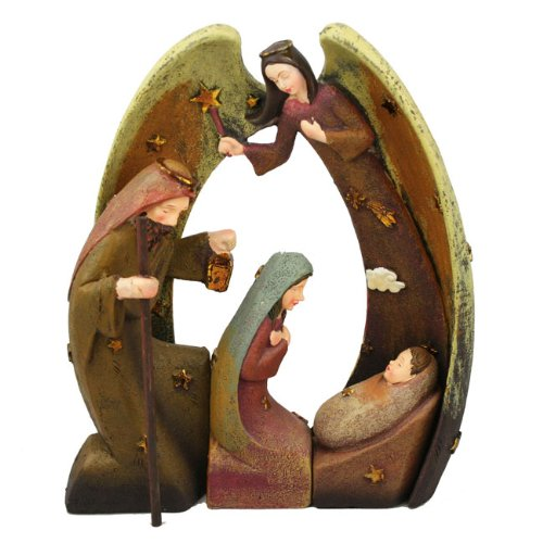 Ceramic Angel Nativity Set Christmas Direct