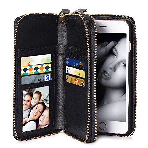 iPhone 7 Plus Case Wallet Zipper PU Leather Han...