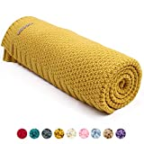 mimixiong Baby Blanket Knit Toddler Blankets for Boys and Girls Mustard Yellow 40x30 Inch