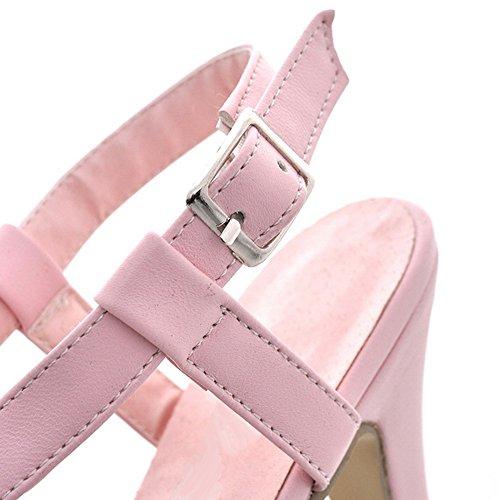 FANIMILA Mujer Moda Gladiator Strappy Sandalias Tacon alto delgado Zapatos Rosado