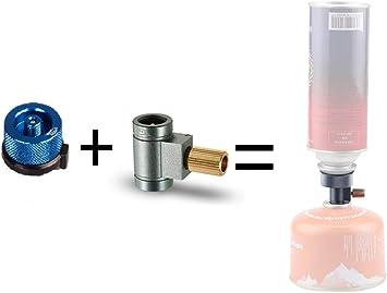 Lixada Lindal Válvula Contenedor Convertidor de Gas Cambio de Recambio Adaptador + Cartucho de Gas Adaptador de Conversión de Cabeza