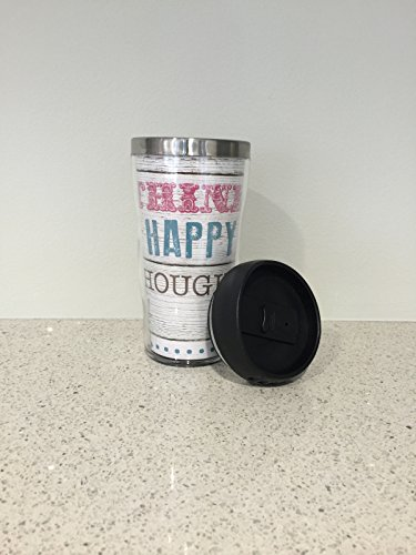 Travel Mug - Think Happy Thoughts design by by Paula Scaletta - Positve Quote Insulated Coffee Mug with Spill Proof Lid (Positive Quote Mugs compare prices)