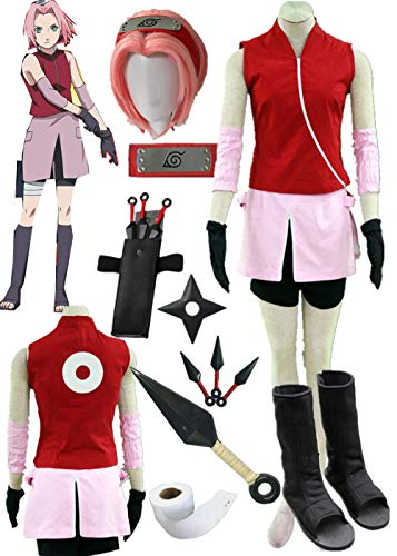 Naruto Shippuden Haruno Sakura Cosplay Costume Halloween Full Set of Clothing Accessories (Female L) -