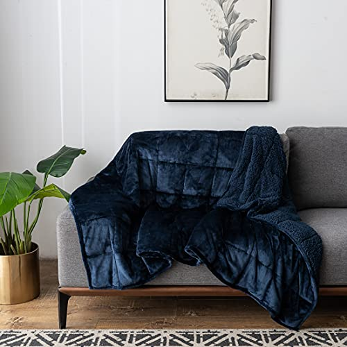 Sherpa Fleece Weighted Blanket 15 Pounds, Kivik Fuzzy Plush Flannel Heavy Throw Blanket for Adult Twin Size, Ultra Soft Cozy Relaxing Bed Blanket Winter Gifts,Dual Side Navy Blue 48x72 Inches