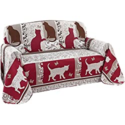 Cat's Meow Furniture Protector Throw Cover, Red, Loveseat