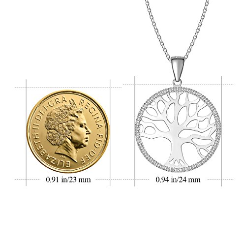 ATMOKO Crystal Pendant Necklace, Rhodium Zircon Sterling Silver Tree of Life Pendant Necklace, Gifts for Women,Girlfriend,Mom, Wife, Sister by ATMOKO (Image #1)