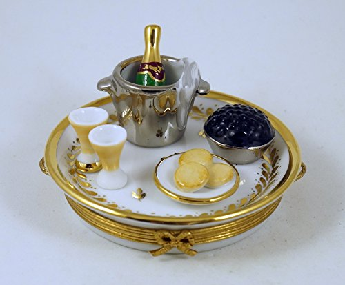 Authentic French Porcelain Hand Painted Limoges Box Champagne Tray with Caviar Champagne Bottle in Ice Bucket Glasses Plate with -