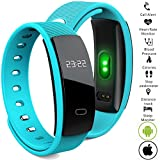 Bluetooth Smart Band wristband Heart Rate Blood Pressure Oxygen Monitor Waterproof OLED Touch Screen Pedometer Sedentary Reminder for ios iphone Android Phones (Q8-Blue) For Sale