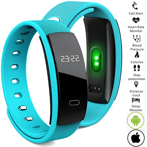 Bluetooth Smart Band wristband Heart Rate Blood Pressure Oxygen Monitor Waterproof OLED Touch Screen Pedometer Sedentary Reminder for ios iphone Android Phones (Q8-Blue)