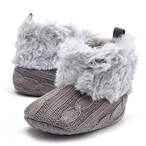Highdas Babyschuhe Kleinkinder Häkelarbeitknit Fleece Stiefel Kleinkind Mädchen Jungen Wolle Schnee Krippe Schuhe Winter Booties Grau