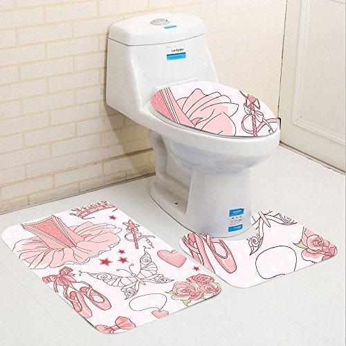 Finding Nemo Costume Pattern (Keshia Dwete three-piece toilet seat pad customTeen Girls Collection Set of Princess BallerinaClassic Costume Shoes Tiara Roses Image Pattern Pink)