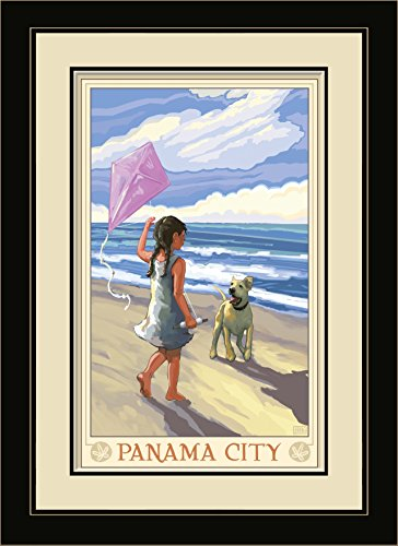 Northwest Art Mall JK-5609 FGDM GDB Panama City Girl Dog Beach Framed Wall Art by Artist Joanne Kollman, 16 x - Beach City Mall Panama