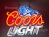 Desung 24''x20'' Coors Light Mountain Neon Sign Light HD Vivid Printing Technology Man Cave Beer Bar Pub Handmade Real Glass Tube Lamp NT02